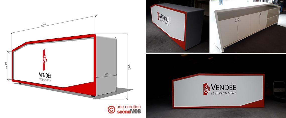 réalisation, création, conception d'une banque d'accueil pour l'événementiel, desk haut pour salon professionnel, mobilier sur mesure, scénomob, Conseil Départemental de la Vendée