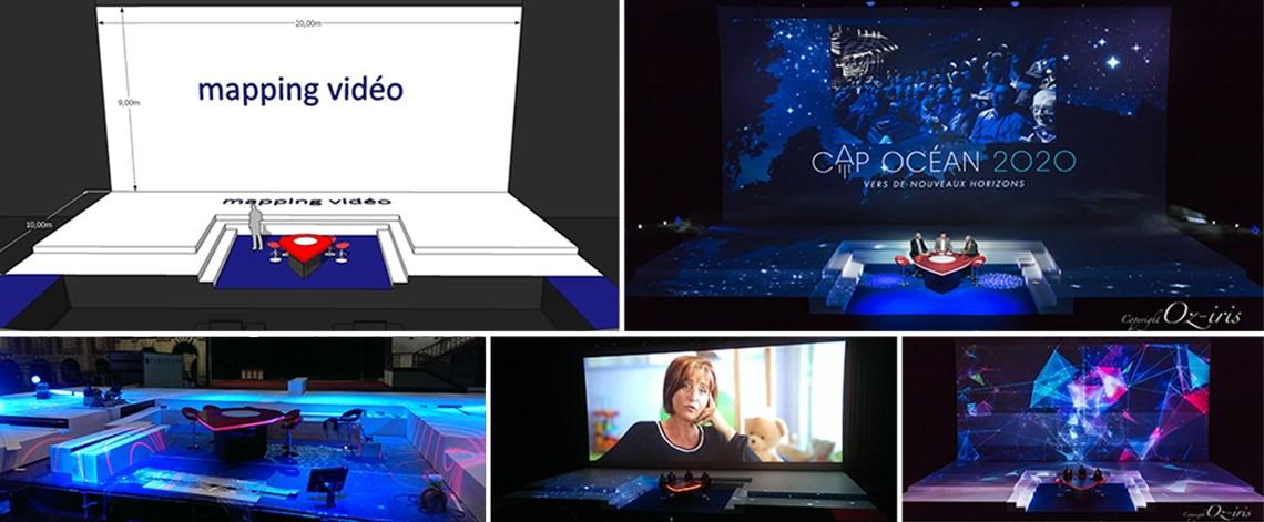 convention, scénographie, création de mobilier, création table débat, mapping vidéo, habillage vidéo, plateau TV, table ronde, intervenants