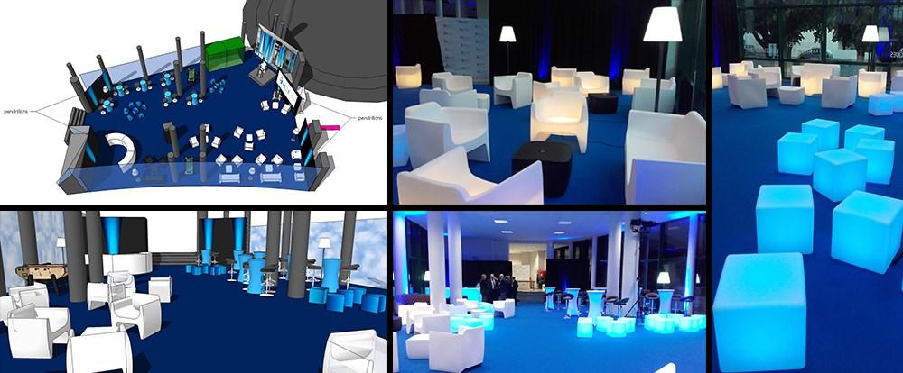 location de mobilier lumineux, décor, décoration d'un espace, moquette, décorateur, événement, événementiel, agencement, mise en place de mobilier, ICES